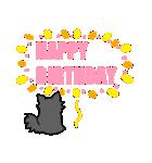 誕生日祝い 黒い犬ピッピとパピヨンぱぴ子(個別スタンプ:02)
