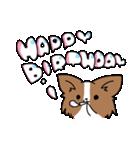 誕生日祝い 黒い犬ピッピとパピヨンぱぴ子(個別スタンプ:18)