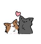 誕生日祝い 黒い犬ピッピとパピヨンぱぴ子(個別スタンプ:39)