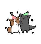誕生日祝い 黒い犬ピッピとパピヨンぱぴ子(個別スタンプ:40)