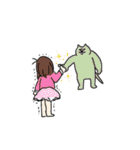 助けを求める女の子と助かる猫(個別スタンプ:37)