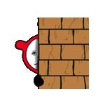 赤と黒のボーダーを着た白くま(個別スタンプ:12)