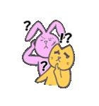 太眉ネコと桃色ウサギ(個別スタンプ:17)