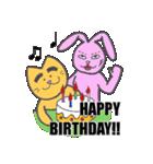 太眉ネコと桃色ウサギ(個別スタンプ:21)