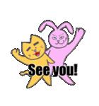 太眉ネコと桃色ウサギ(個別スタンプ:40)