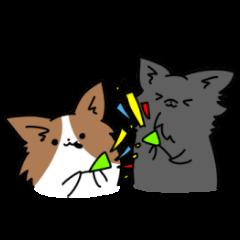 誕生日祝い 黒い犬ピッピとパピヨンぱぴ子