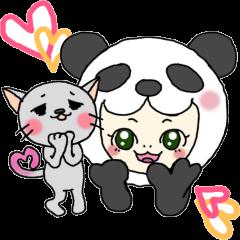 パンダ娘とぬこ。