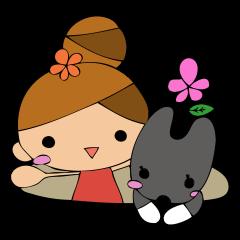 犬と女の子のスタンプ