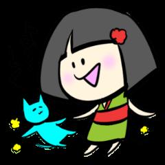 座敷わらしの女の子ゆきと飼い猫ミケ
