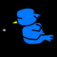 [LINEスタンプ] くちばしの黄色い青い鳥 <Part.2> (1)