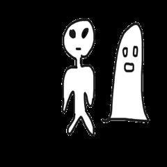 [LINEスタンプ] 宇宙人のようなお化けのようなスタンプ (1)