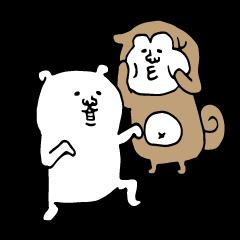 サバ目な白い犬と柴犬