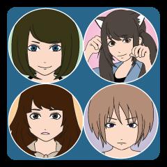 癒し系女子4人組のスタンプ