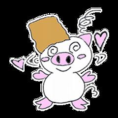 かわいい豚が好きなカバンを持ちお出かけ