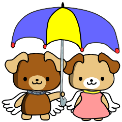 [LINEスタンプ] 天使の羽を持つ可愛いカップル犬 (1)