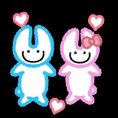 ラビット-青色とピンク色のかわいいうさぎ-