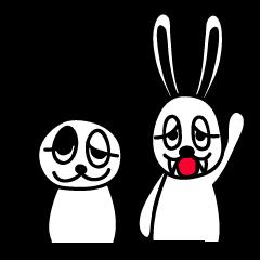 白うさぎと白黒ぱんだ