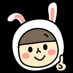 ウサギ大好きうーちゃんスタンプ