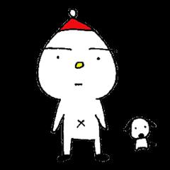 白い子と白い犬。