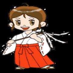 [LINEスタンプ] ことだま巫女ちゃん (1)