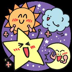 太陽や雲♪星やお月さま達の敬語スタンプ♪