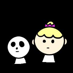 [LINEスタンプ] 女の子と時々パンダくん。 (1)