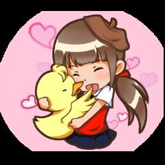 Yaya with duckling
