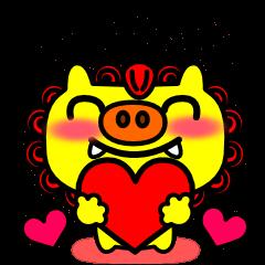 幸せの黄色いシーサー