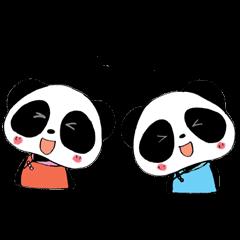 双子パンダ。