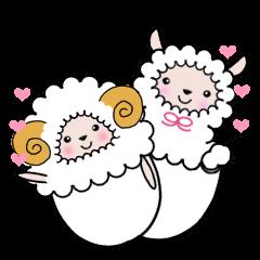 羊とあるぱかの対照的な2パターンスタンプ