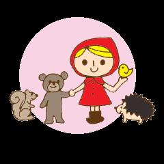 女の子と動物の仲間たちの日常スタンプ