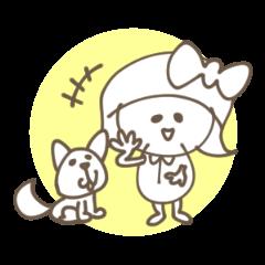 犬と女の子スタンプ 吹き出し付 敬語 01