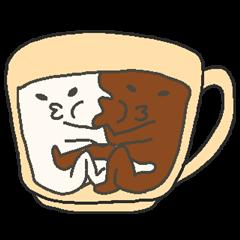 [LINEスタンプ] 混ざらないミルクとコーヒー