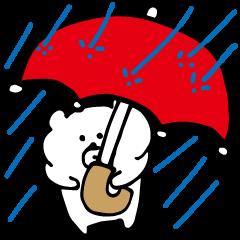 雨の日に使えるくまスタンプ。