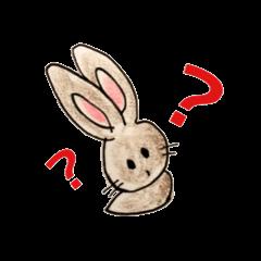 素朴な手描きのかわいいウサギ
