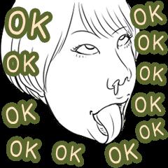 変顔スタンプ女性編vol.2 OK!