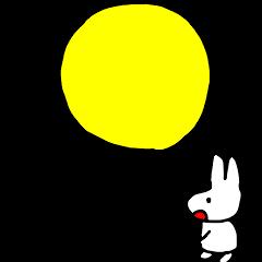 白うさぎと月のスタンプ