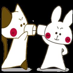 [LINEスタンプ] 小生意気な白うさとぶちネコ2