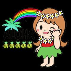 毎日使えるハワイアンガールの挨拶スタンプ