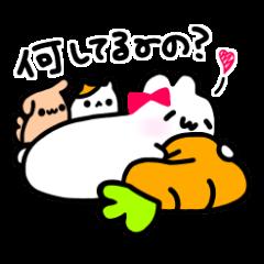 [LINEスタンプ] Merry家 ぽっちゃりうさぎとネコと犬 (1)