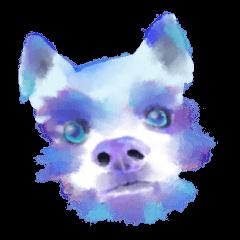 水彩画風の犬と猫