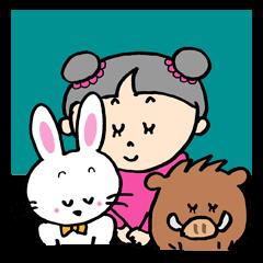 親子のイノシシとウサギとTOPAちゃん物語