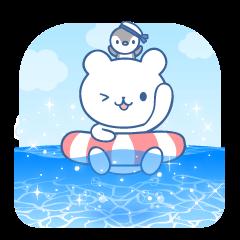 夏だっ!海だーーっ!!しろくまスタンプ