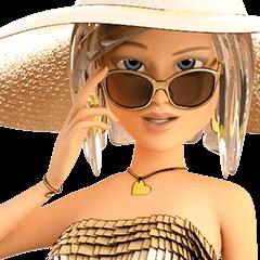 金色帽子のビューティフルガール
