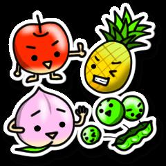 ステッカーで果物さんとお野菜さん