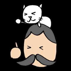 ヒゲおじさんと猫